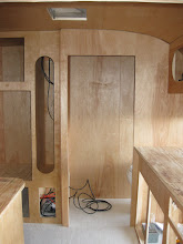 Photo: Looking through the door, I shortened the dinette by 6 inches to get the small closet space between the fridge cabinet and the bathroom.