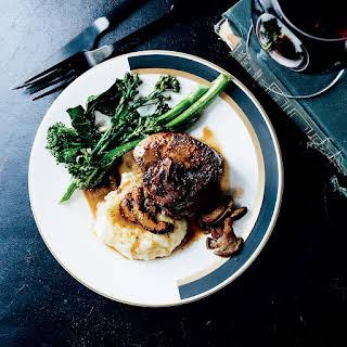 Beef Tenderloin Steaks with Mushroom Sauce.
