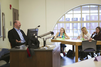 Photo: Mann visits Slater and Griffin's UNIV 200 climate change course