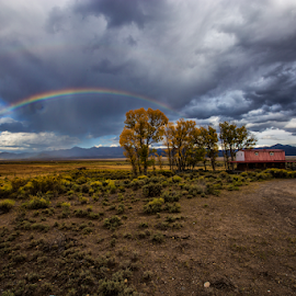 Impromptu Rainbow by Joel Eade - Landscapes Weather ( utah, rainbow, beautiful, rain, awesome, amazing, field, perfect, clouds )