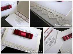 pocket wedding invitation with ribbon bow