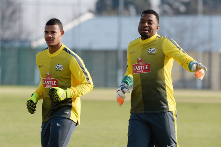 Ronwen Williams (SuperSport United) and Itumeleng Khune (Kaizer Chiefs) during the South African national soccer team training session at University of Johannesburg Grounds on September 01, 2015 in Johannesburg, South Africa.