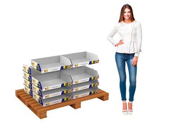 cajas apilables cartón micro o corrugado PDQ