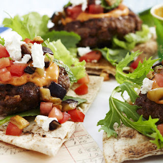 Open-Faced Harissa Lamb Burgers.