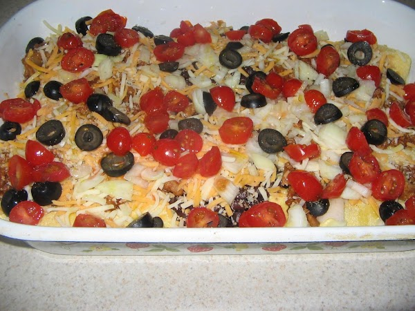 Sprinkle the olives, onions,all remaining cheese and tomatoes evenly over top of all. Bake...