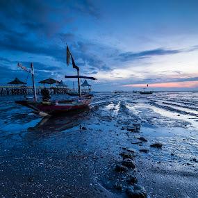 Until Tide by Robertho Ponomban - Landscapes Beaches ( beaches, blue, sunrise, landscape, boat )