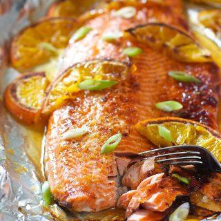 Honey Glazed Salmon with Orange and Ginger.