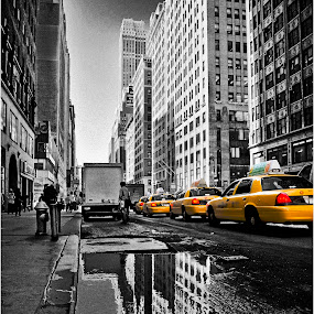 New York Cabs by Mark Shoesmith - City,  Street & Park  Street Scenes (  )