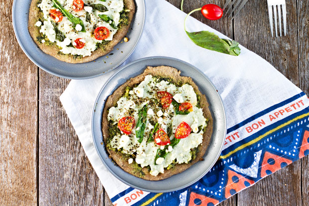 Spinach Pesto & Goat Cheese Individual Pizzas Recipe | Yummly