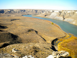 Photo: Looking upriver from the Hole - Our kayaks are parked near that lone tree.