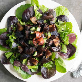 Blueberry Whiskey BBQ Salad with Tempeh and Roasted Potatoes.