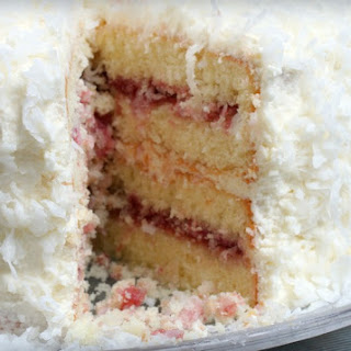 Coconut Cake with Raspberry Filling.