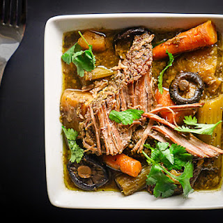 Slow Cooker Pot Roast with Carrot Top Pesto