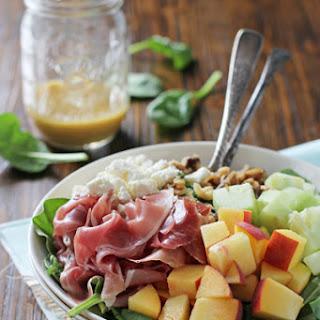 Peach and Prosciutto Salad with Honey Mustard Vinaigrette