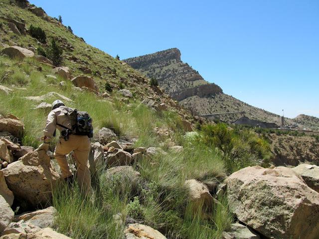Climbing above the Lila Canyon mine