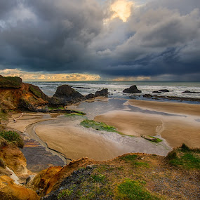 Stormy Afternoon by Zach Blackwood - Landscapes Cloud Formations ( seal rock, clouds, oregon, beach, storm, spring, rain, coast )
