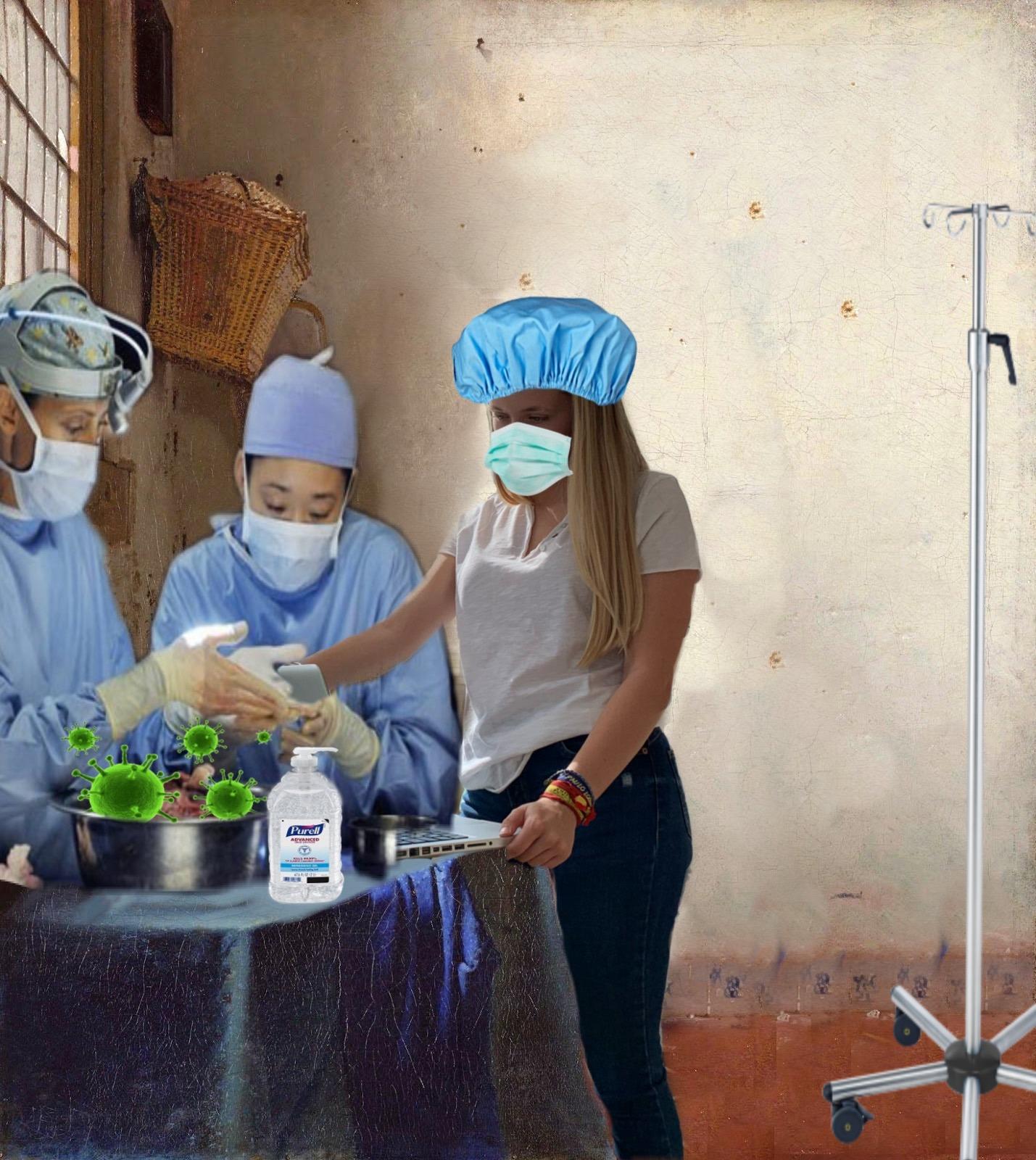 """Título: """"Mascarillas médicas"""" Obra del pintor Johannes Vermeer """"La lechera"""""""