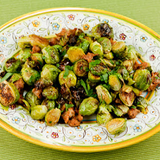 Golden Roasted Brussel Sprouts With Sausage & Garlic.
