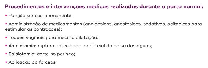 Punção venosa permanente, administração de medicamentos (analgésicos, anestésicos, sedativos, ocitócicos para estimular as contrações), toques vaginais para medir a dilatação, amniotomia (ruptura antecipada e artificial da bolsa das águas), episiotomia (corte do períneo), aplicação do fórceps