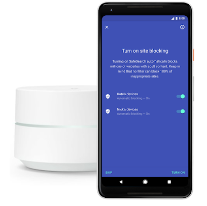 Google site blocking mobile screen next to Google Wifi