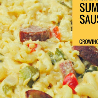 Cajun Sausage Mac n Cheese featuring Klement's Garlic Summer Sausage