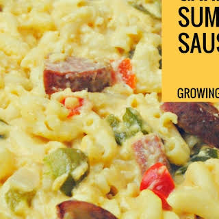 Cajun Sausage Mac n Cheese featuring Klement's Garlic Summer Sausage.