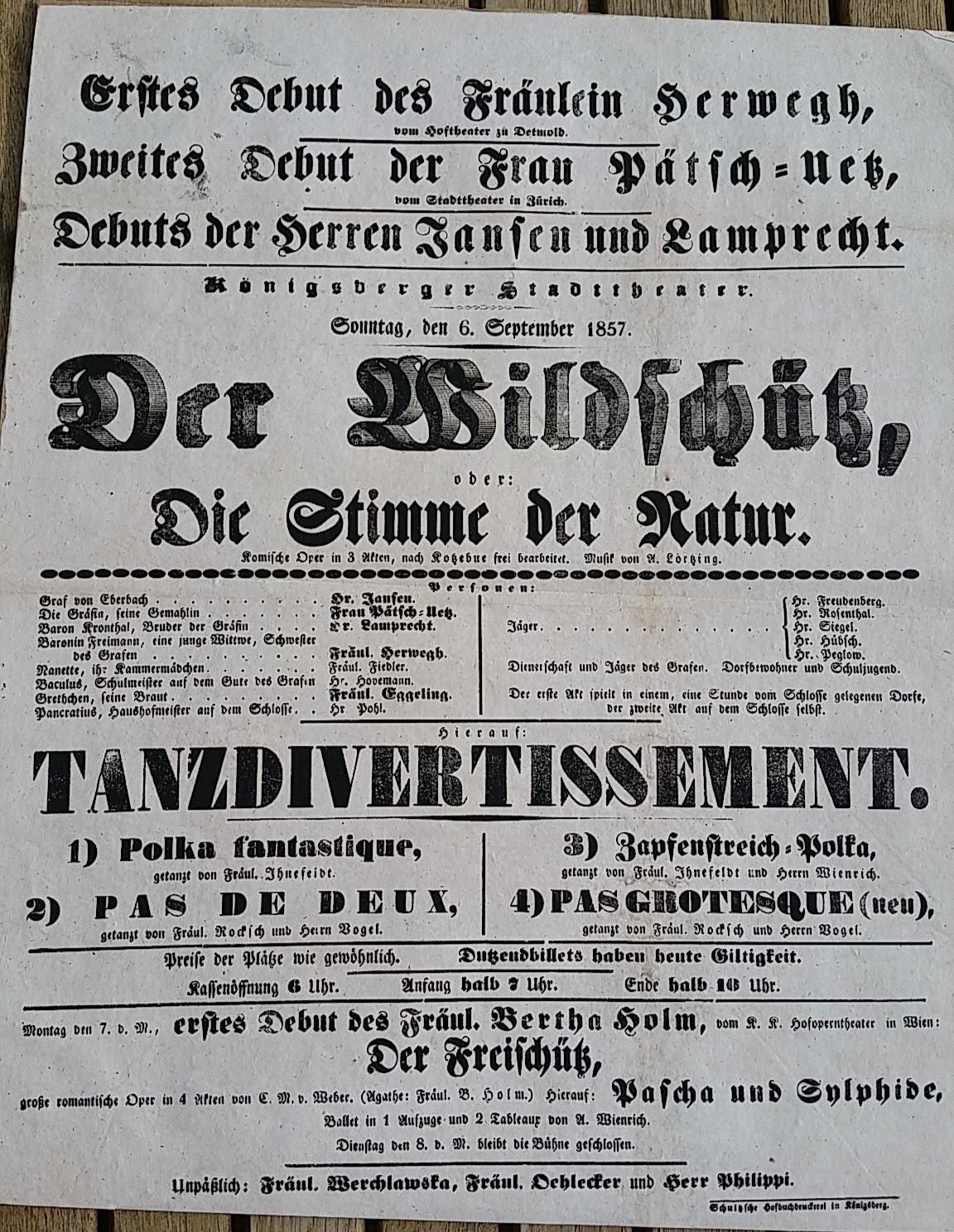 Theaterplakat - 6. September 1857 - Königsberger Stadttheater