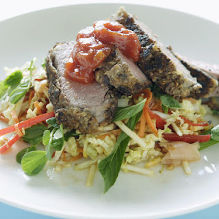 Shiitake-Crusted Lamb Fillet with Tomato Chili Jam