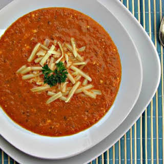 Roasted Red Pepper, Tomato and Smoked Gouda Bisque – Low Carb, Gluten Free.
