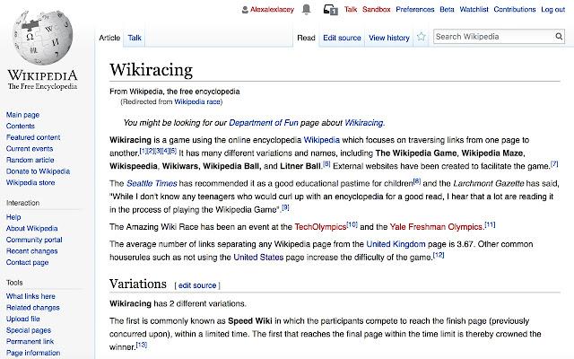 Wikipedia Race