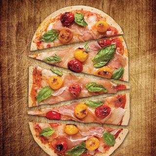 Tomato and Prosciutto Flatbread Pizza.