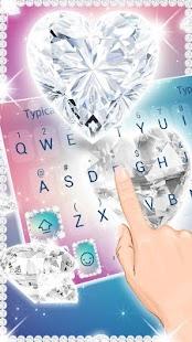 Shiny Diamond Heart 3D Theme&Emoji Keyboard - náhled