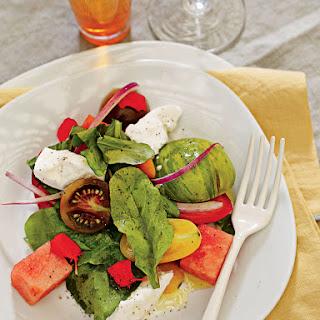 Tomato Salad with Watermelon & Mozzarella.