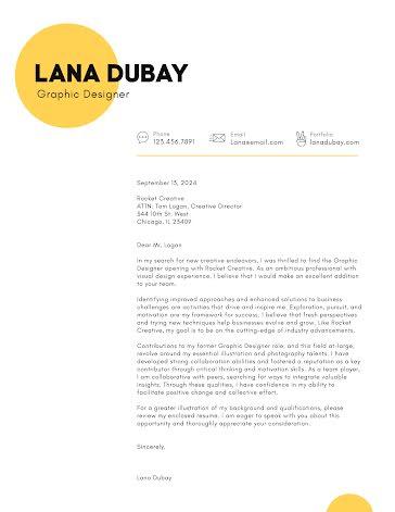 Lana Dubay - Cover Letter template