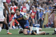The DHL Stormers SP Marais tries to get away from a tackle during the Super Rugby game against the Chiefs at Newlands Rugby Stadium, Cape Town on May 12 2018.
