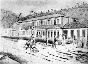 Photo: Rua do Imperador. Neste desenho vemos novamente o Grande Hotel Bragança. Desenho da década de 1850 de Otto Reimarus
