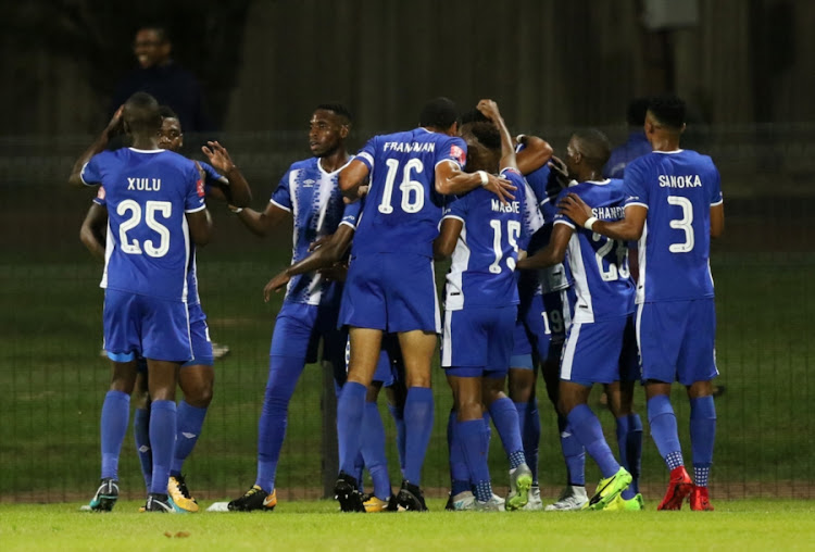Maritzburg United celebrate the opening goal during the Absa Premiership match between Maritzburg United and Baroka FC at Harry Gwala Stadium on December 08, 2017 in Pietermaritzburg, South Africa.