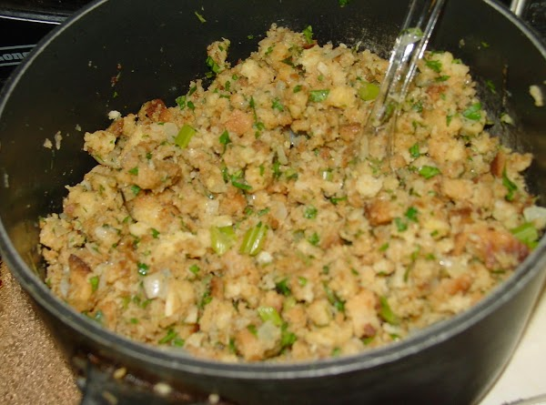 For stuffing, finely chop onion and celery. Heat margarine or butter called for on...