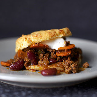 Beef Chili with Sour Cream and Cheddar Biscuits