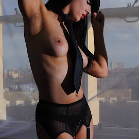 Queen of the Showgirls by DJ Cockburn - Nudes & Boudoir Artistic Nude ( model, topless, dark hair, home shoot, net curtain, three quarter, jess harrington, portrait, hat, caucasian, lingerie, window, woman, brunette, black tie, standing,  )