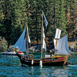 by Barbara Brock - Transportation Boats ( one boat, single boat, sailboat, sailing, fun on the water, lake, boat, summer )