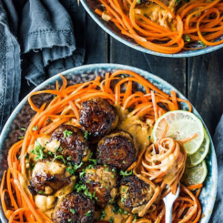 Thai Chicken Curry Meatballs With Carrot Noodles.