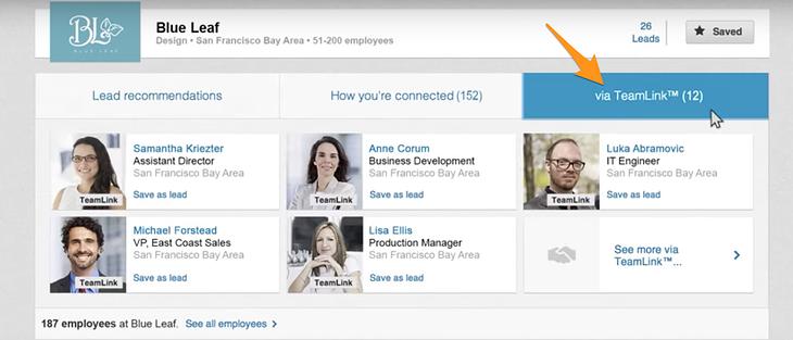 teamlink section of linkedin sales navigator