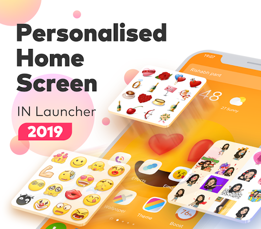 IN Launcher - Love Emojis & GIFs, Themes 1.0.9 screenshots 1