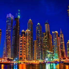 Dubai Marina, Blue Hour - Long Exposure by Abbas Mohammed - City,  Street & Park  Skylines ( emirates, dubai, uae, contest, lengthy exposure, long exposure, dubai marina,  )