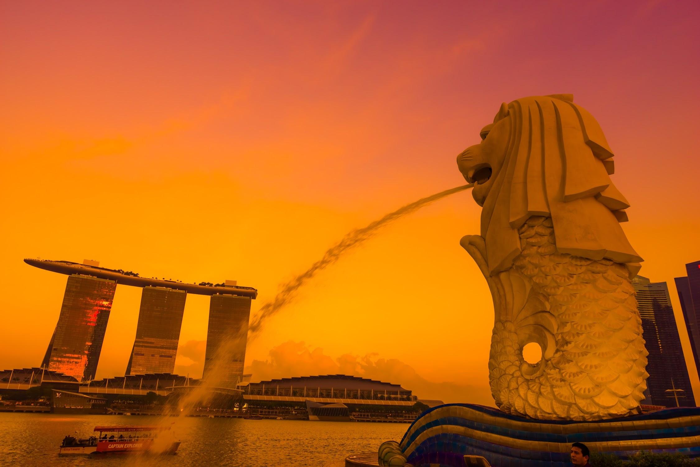 Singapore Merlion sunset5