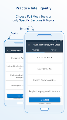 10th Class - CBSE exam MCQ App Report on Mobile Action - App