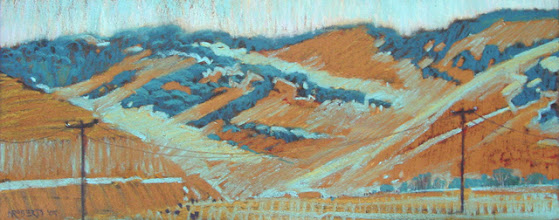 Photo: Gold and Turquoise Hills, pastel by Nancy Roberts, copyright 2014. Private collection.