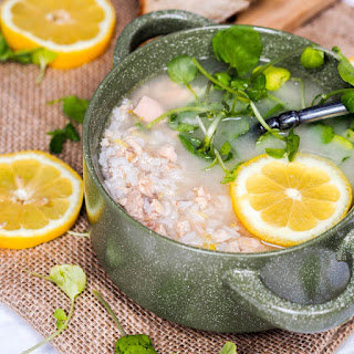 Lemon Rice Soup with Salmon and Watercress {GF, DF}.