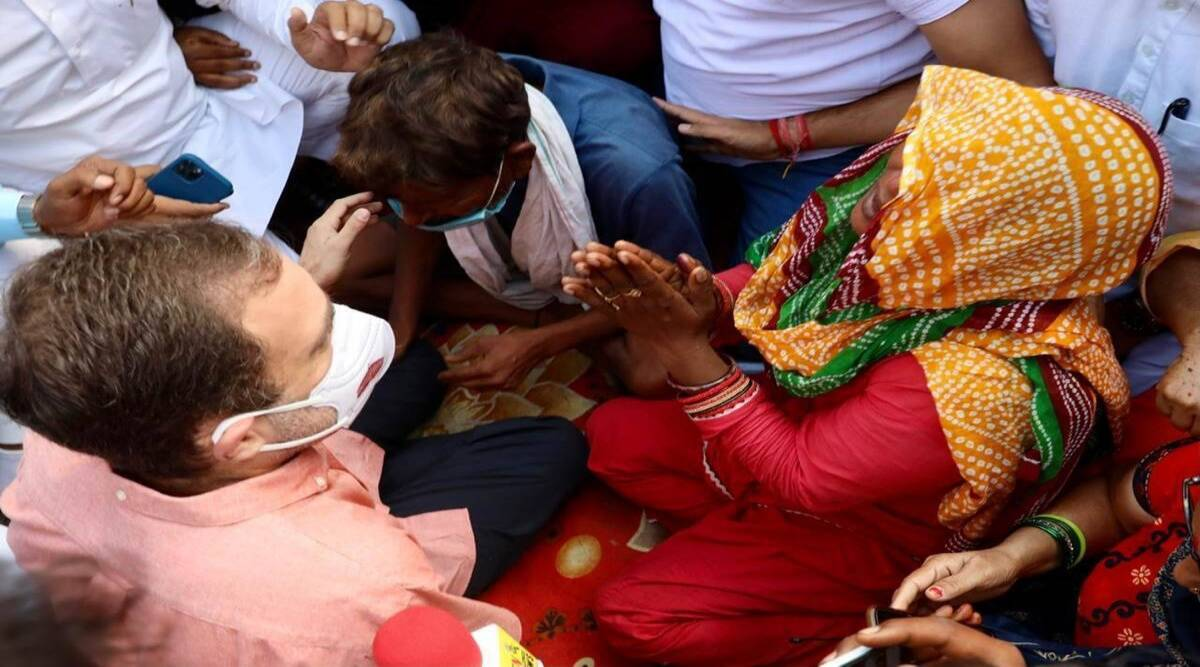 Rahul Gandhi meets family of 9-year-old girl allegedly raped, killed and  forcibly cremated   Cities News,The Indian Express